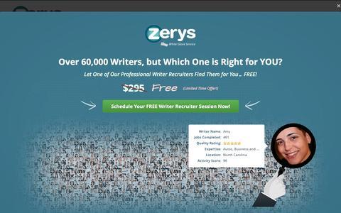 Screenshot of Signup Page zerys.com - Choose an Option - captured Nov. 28, 2016
