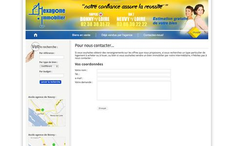 Screenshot of Contact Page agence-hexagone.com - Hexagone immobilier - Contact - captured June 2, 2016