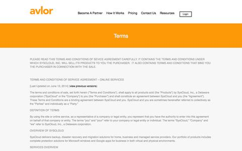 Screenshot of Terms Page avlor.com - Terms | Avlor Fast Full-Server Disaster Recovery in AWS Cloud - captured Oct. 4, 2014