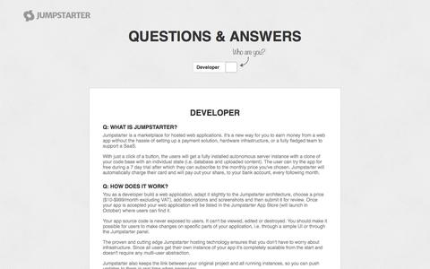 Screenshot of FAQ Page jumpstarter.io - Jumpstarter - The App Store of the Web - captured Oct. 28, 2014