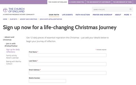 Screenshot of Signup Page churchofengland.org - Sign up now for a life-changing Christmas Journey | The Church of England - captured Dec. 22, 2018