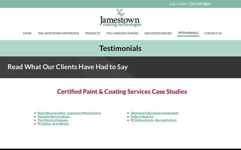 Screenshot of Testimonials Page jamestowncoatings.com - Testimonials   Industrial Coatings   Jamestown Coating Technologies - captured July 27, 2018