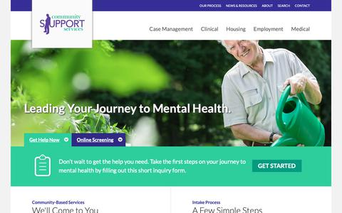 Screenshot of Home Page cssbh.org - Community Support Services | - captured Sept. 29, 2018