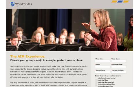 Screenshot of Landing Page educationaltravel.com captured April 26, 2018