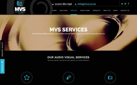Screenshot of Services Page mvsav.co.uk - Audio Visual Services from the Leading Audio Visual Company MVS - captured Feb. 2, 2016