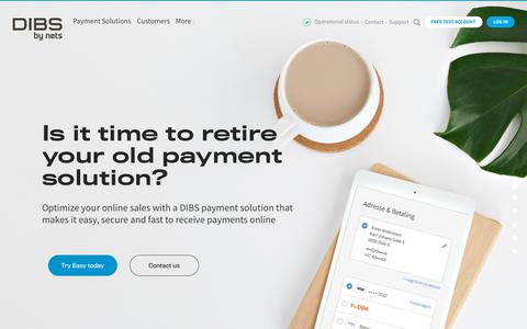 Screenshot of Home Page dibspayment.com - Online payment | 40 payment methods | Free trial | DIBS - captured July 8, 2019