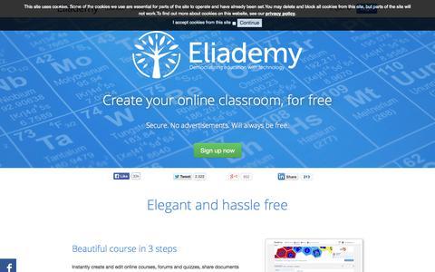 Screenshot of Home Page eliademy.com - Eliademy | Create your own online course - captured Sept. 23, 2014