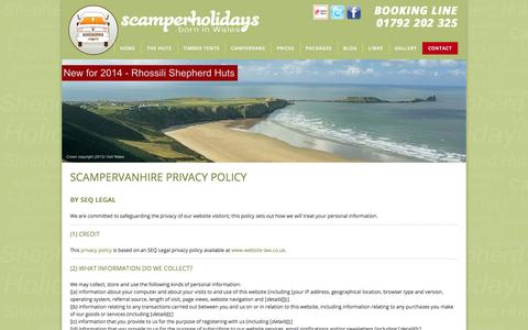 Screenshot of Privacy Page scamperholidays.co.uk - scamper holidays campervan hire privacy policy - captured Oct. 4, 2014