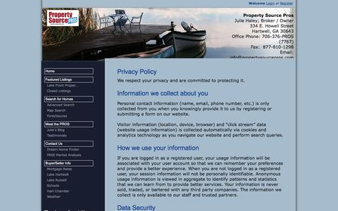 Screenshot of Privacy Page propertysourcepros.com - Lake Hartwell Property for Sale, Property Search in Georgia and South Carolina - captured July 24, 2018