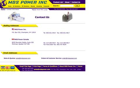 Screenshot of Contact Page mdspower.com - MDS Power Inc. Contact Email, Telephone, Fax, and Mailing Information - captured Oct. 4, 2014