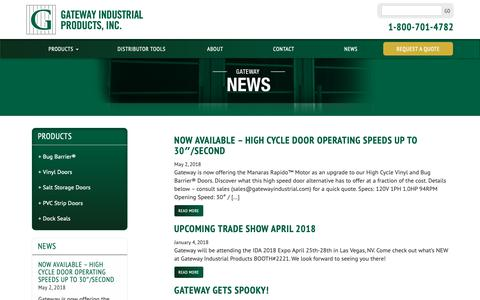 Screenshot of Press Page gatewayindustrial.com - Gateway Industrial New Products and Tradeshow Appearances - captured Sept. 27, 2018