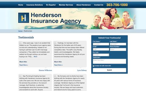 Screenshot of Testimonials Page hendersonagency.net - Testimonials | Henderson Insurance Agency of Greenwood Village Colorado - captured Nov. 7, 2016