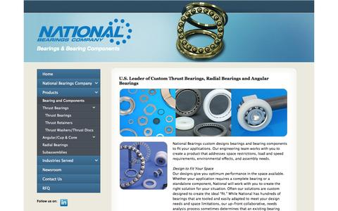 Screenshot of Products Page nationalbearings.com - Products: National Bearings Company: Custom Bearings and Bearing Components - captured Nov. 5, 2014