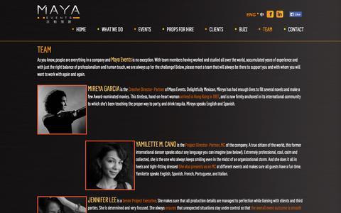 Screenshot of Team Page mayahk.com - Team   Maya Events - captured Nov. 4, 2014