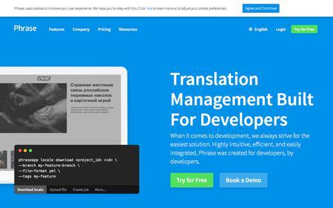 Screenshot of Developers Page phrase.com - The Most Developer-centric Localization Platform - captured Aug. 12, 2019