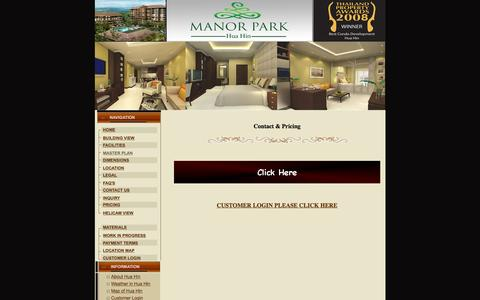 Screenshot of Pricing Page manorparkhuahin.com - Welcome to Manor Park Hua Hin,Leading development project - captured Feb. 4, 2016