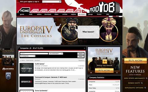 Screenshot of Developers Page moddb.com - Companies - Mod DB - captured Dec. 3, 2015