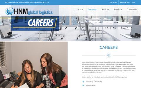 Screenshot of Jobs Page gohnm.com - Careers - HNM Global Logistics - captured June 25, 2019