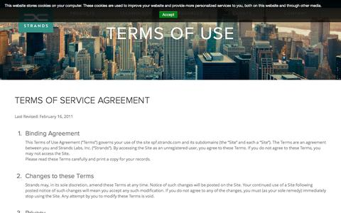 Screenshot of Terms Page strands.com - Terms of Use - Strands Finance - captured April 7, 2017