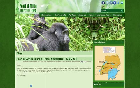 Screenshot of Blog pearlofafricatours.com - Blog - captured Sept. 19, 2014
