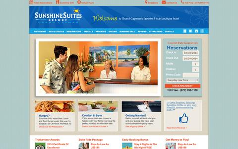 Screenshot of Home Page Site Map Page sunshinesuites.com - Sunshine Suites Grand Cayman Island Resort - captured Oct. 7, 2014