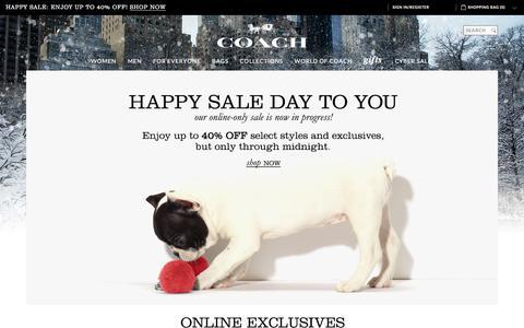 Screenshot of Home Page coach.com - COACH Official Site | Cyber Monday Sale - captured Nov. 30, 2015