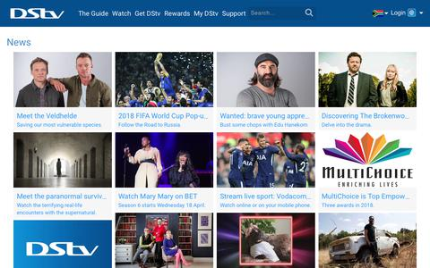 Screenshot of Press Page dstv.com - The Latest on New Shows, Channel Launches and More | DStv | News - captured April 23, 2018