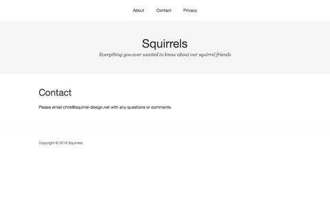 Screenshot of Contact Page squirrel-design.net - Contact – Squirrels - captured May 21, 2016