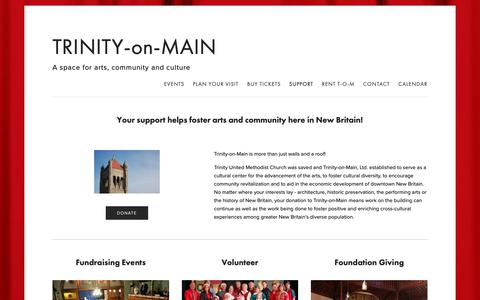 Screenshot of Support Page trinityonmain.org - Support — TRINITY-on-MAIN - captured Nov. 19, 2018