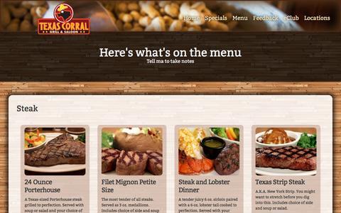 Screenshot of Menu Page texascorral.net - Texas Corral | Menu - captured Feb. 25, 2016