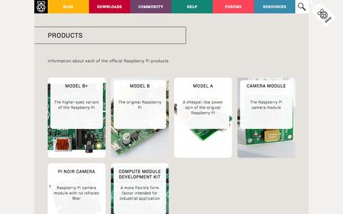 Screenshot of Products Page raspberrypi.org - Products | Raspberry Pi - captured Sept. 17, 2014