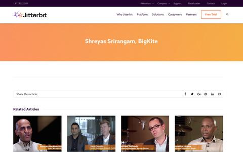 Screenshot of Testimonials Page jitterbit.com - Shreyas Srirangam, BigKite | Jitterbit - captured April 11, 2017
