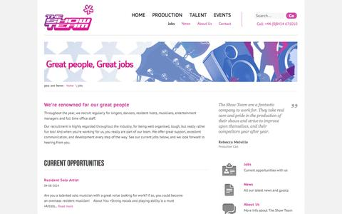 Screenshot of Jobs Page theshowteam.co.uk - The Show Team - Jobs - captured Oct. 9, 2014