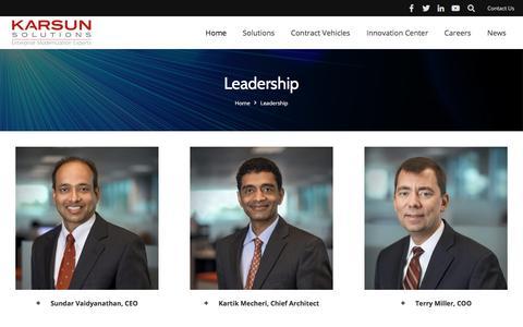 Screenshot of Team Page karsun-llc.com - Leadership - Karsun Solutions LLC - captured July 14, 2018