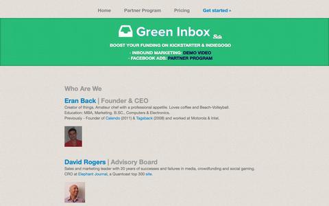 Screenshot of Team Page greeninbox.com - Green Inbox | Team, Who Are We - www.greeninbox.com - captured Oct. 11, 2018