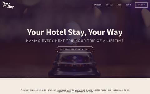 Screenshot of Home Page pimpyourstay.com - Pimp Your Stay — Travelers - captured July 21, 2015