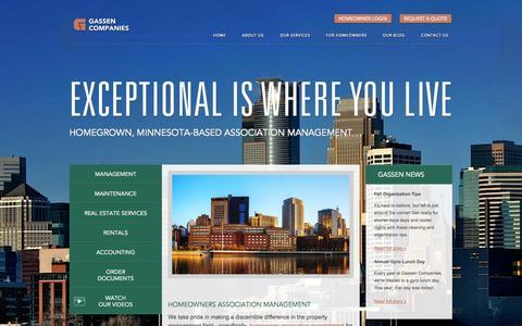 Screenshot of Home Page gassen.com - Homeowner Association Management, Property Management Minneapolis, MN :: Gassen Companies - captured Oct. 2, 2014