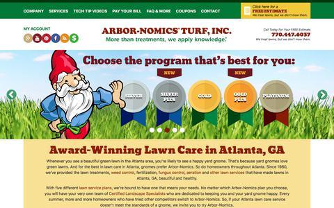 Screenshot of Home Page arbor-nomics.com - Top Rated Atlanta, GA Lawn Care Service | Arbor-Nomics - captured June 28, 2018
