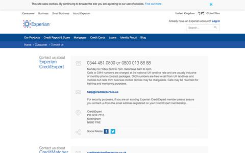 Contact Experian customer services by phone, email or post