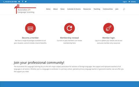 Screenshot of Signup Page all-languages.org.uk - Join | Association for Language Learning - captured Nov. 21, 2016