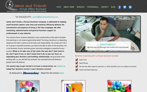 Screenshot of Home Page jamieandfriends.com - Virtual Assistant -Jamie and Friends - captured Oct. 6, 2014