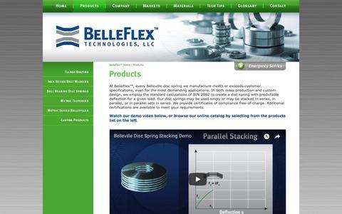 Screenshot of Products Page belleflex.com - Disc Springs / Belleville Springs / Belleville Washers - captured Oct. 5, 2018