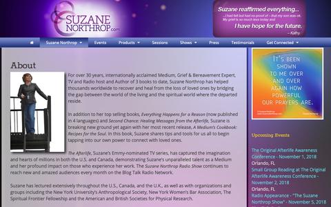 Screenshot of About Page suzanenorthrop.com - About – Suzane Northrop - captured Oct. 25, 2018