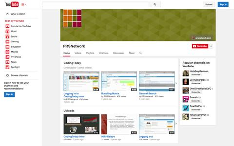 Screenshot of YouTube Page youtube.com - PRSNetwork  - YouTube - captured Oct. 22, 2014