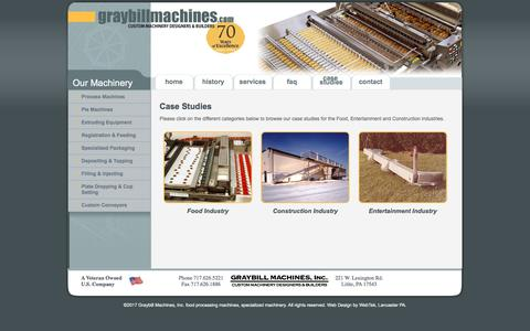 Screenshot of Case Studies Page graybillmachines.com - Case Studies Food Industry, Construction and Entertainment - Graybill Machines - Custom Machinery Designers & Builders - captured Sept. 17, 2017
