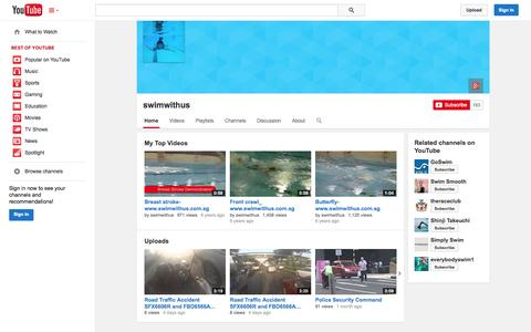 Screenshot of YouTube Page youtube.com - swimwithus  - YouTube - captured Oct. 29, 2014