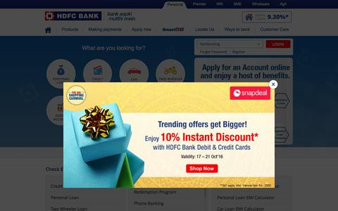 Screenshot of Home Page hdfcbank.com - HDFC Bank: Personal Banking Services - captured Oct. 20, 2016