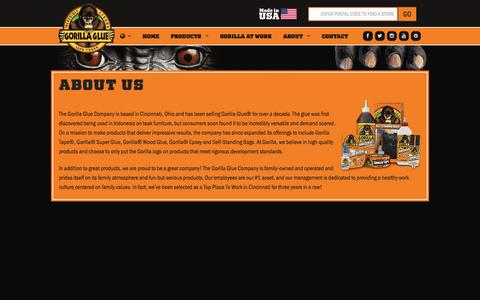 Screenshot of About Page gorillatough.com - The Gorilla Glue Company | About Us | History | Mission - captured Sept. 23, 2014