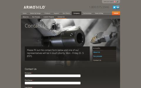 Screenshot of Contact Page armodilo.com - Contact Us | iPad Kiosk | Tablet Stand | Tablet Enclosure - captured Sept. 30, 2014