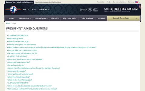 Screenshot of FAQ Page greatrail.com - Frequently Asked Questions | Great Rail Journeys - captured Sept. 25, 2014